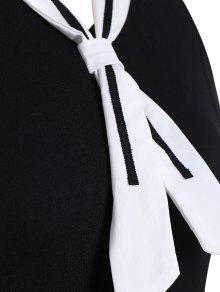 da74d2b206505 29% OFF  2019 Plus Size Tied Skater Sailor Dress In BLACK 5XL