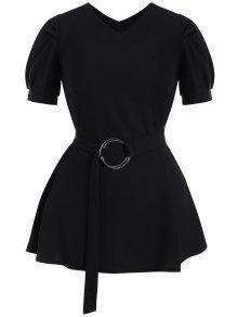 فستان الحجم الكبير نفخة الأكمام مربوط - أسود 4xl