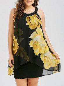 فستان الحجم الكبير طباعة الأزهار ضيق - الأصفر Xl