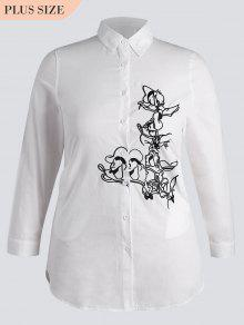 Button Down Embroidered Plus Size Shirt - White 3xl