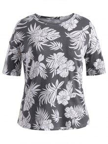 Short Sleeve Plus Size Graphic Leaf Print Tee - Gray 3xl