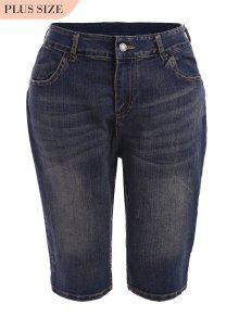 Plus Size Ripped Fifth Jeans - Denim Blue 5xl
