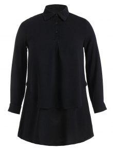 Double Layered Plus Size Longline Blouse - Black 2xl
