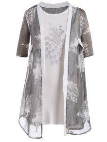 فستان ضيق الحجم الكبير مع كيمونو طباعة الطاووس - اللون الرمادي 3xl