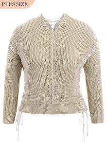 Plus Size Lace Up Chunky Sweater - Light Khaki