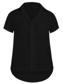 Plus Size High Low Pocket Blouse - Black 3xl