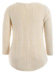 Plus Size Sheer Chunky Sweater Off White Plus Size Sweaters