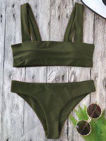 Padded Wide Straps Bandeau Bikini Set - Army Green S