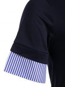 373646a18c7 31% OFF  2019 Striped Plus Size Bodycon Preppy Dress In PURPLISH ...