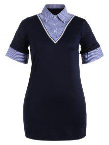 Striped Plus Size Bodycon Preppy Dress - Purplish Blue 4xl