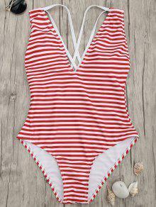 عبر الظهر مخطط قطعة واحدة ملابس السباحة - Red Stripes 2xl