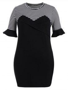 فستان ضيق الحجم الكبير مخطط كشكش - أسود 3xl