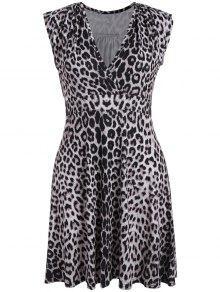 Plus Size Leopard Print Surplice Dress - Black Leopard Print Xl
