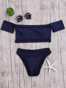 Mesh High Cut Off The Shoulder Bikini Set - Blue S