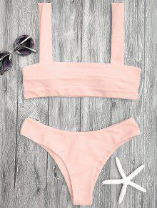 Bandeau Padded Bikini Top And Bottoms - Shallow Pink M