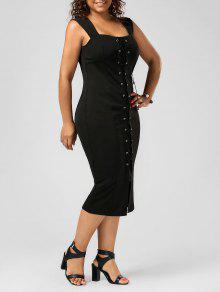 فستان الرباط ضيق الحجم الكبير ميدي - أسود 5xl