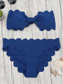 Padded Scalloped Bandeau Bikini Set - Deep Blue M