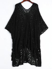 فستان شال مفتوحة محبوك شاطئ  - أسود