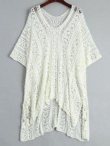 فستان شال مفتوحة محبوك شاطئ  - أبيض