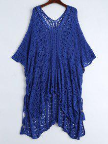 Open Knit Beach Poncho Cover Up Dress - Bleu