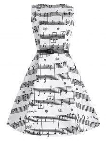 1950s فستان الحجم الكبير نمط الموسيقي ميدي - أبيض 2xl