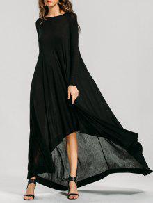 طويلة الأكمام عالية منخفضة فستان ماكسي - أسود Xl