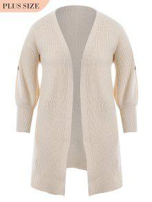 Plus Size Open Front Embroidered Cardigan - Off-white