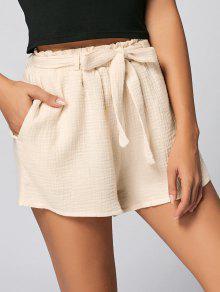 Pockets Belted Shorts