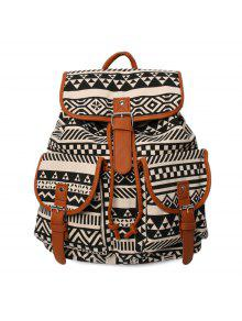 Buckles Ethnic Print Canvas Backpack - Black And Brown