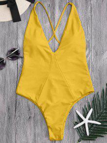 عالية قطع الصليب العودة ملابس السباحة - زنجبيل Xl