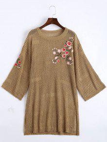 Robe Sweater Brodée Florale Transparente - Kaki