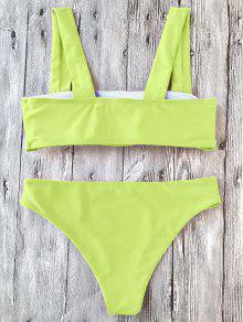 31875c782cd6c 30% OFF] 2019 Padded Wide Straps Bandeau Bikini Set In NEON YELLOW ...