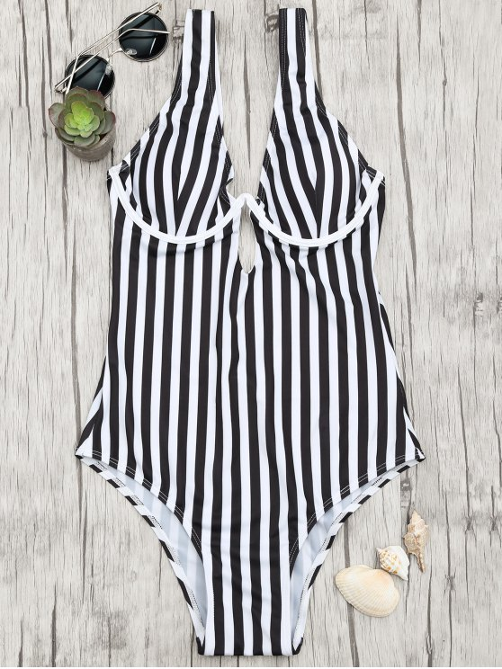 outfit Striped Underwire One Piece Swimsuit - WHITE AND BLACK S