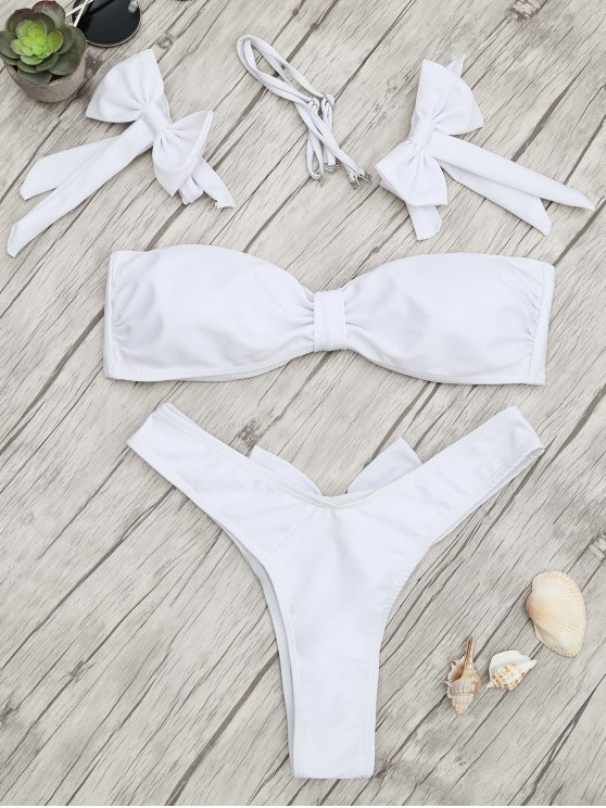 fashion Padded Bow Bandeau Thong Bikini Set - WHITE L
