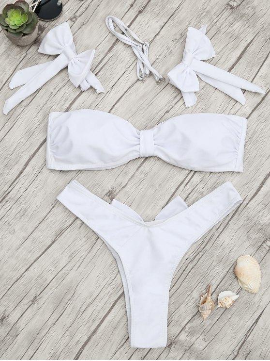 fancy Padded Bow Bandeau Thong Bikini Set - WHITE S
