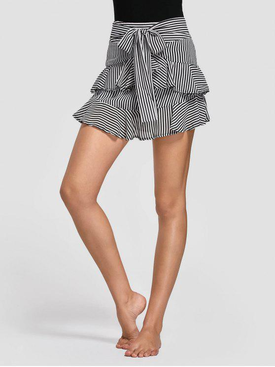 ladies Stripes Ruffles Layered Skirt - BLACK STRIPE M
