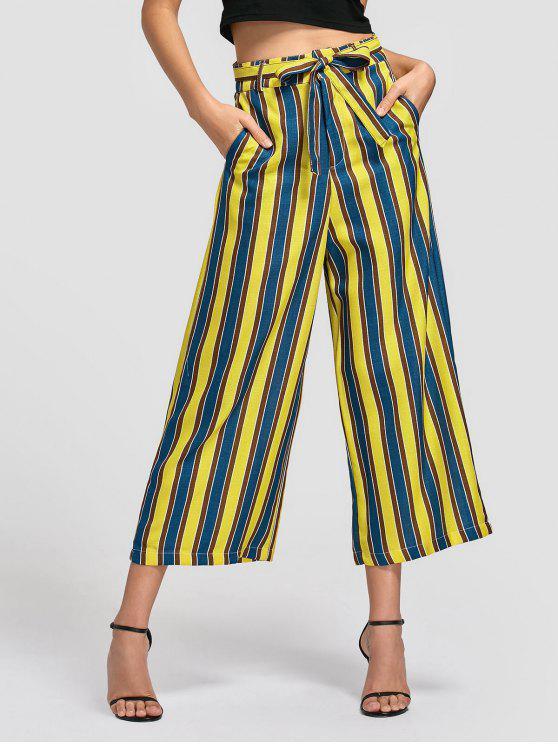 Pantalones de pierna ancha rayada con cinturón - Raya S
