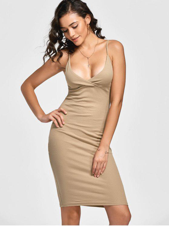 shops Knitted Ribbed Bodycon Dress - KHAKI M