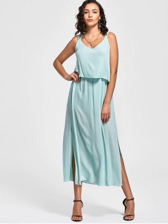fashion Overlay Bowknot Slit Maxi Dress - LIGHT BLUE M