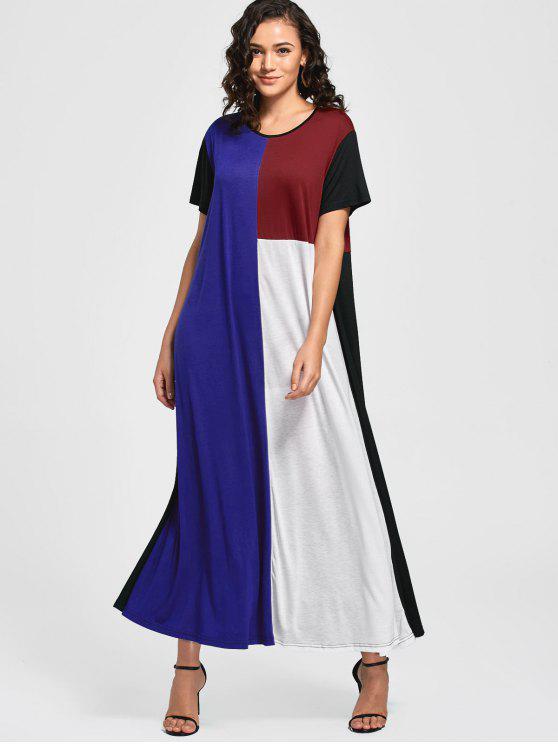 فستان مريح كتلة اللون مستقيم ماكسي - متعدد XL
