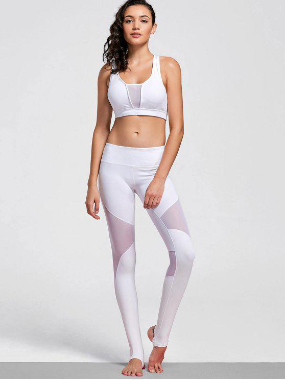 latest Cut Out Mesh Padded Stirrup Gym Suit - WHITE L