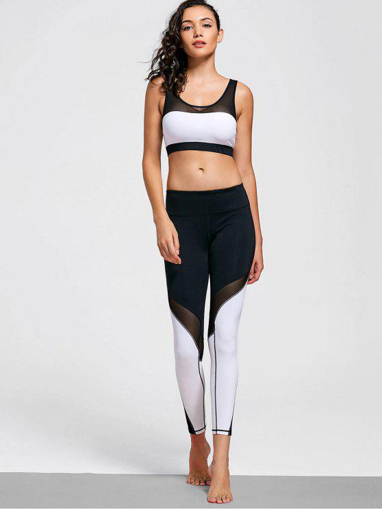 chic Mesh Insert Stretchy Color Block Gym Suit - WHITE AND BLACK M