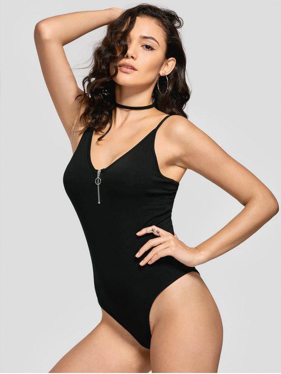 unique Skinny Half Zip Bodysuit - BLACK M