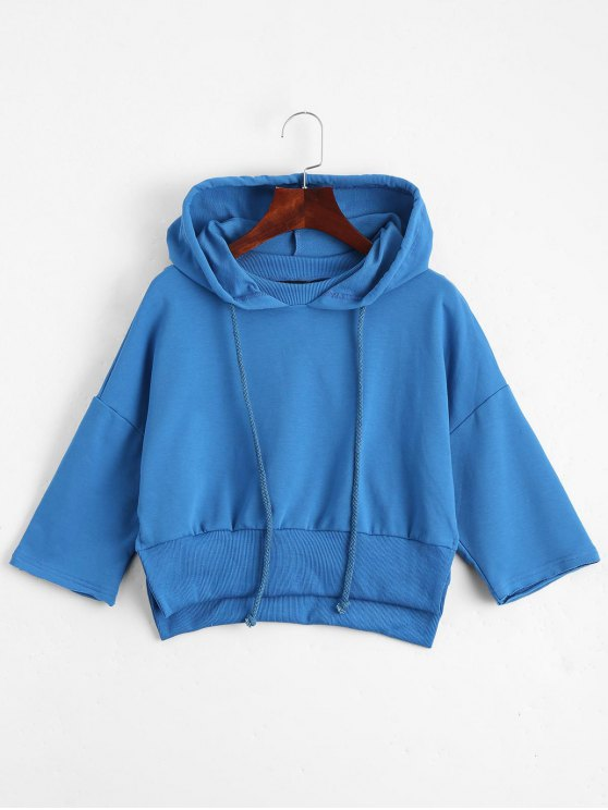 Casual Slit Cropped Hoodie - Azul 2XL