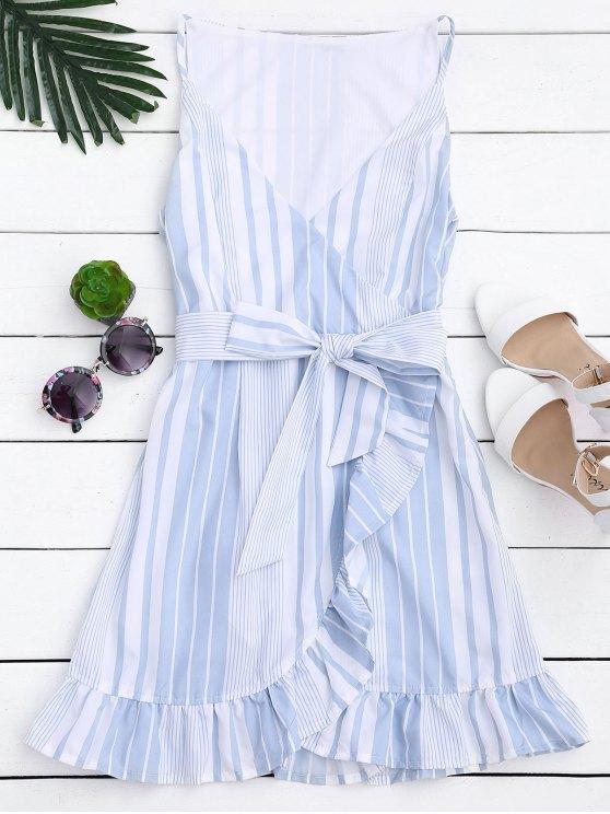 womens Belted Stripes Ruffles Slip Dress - STRIPE M
