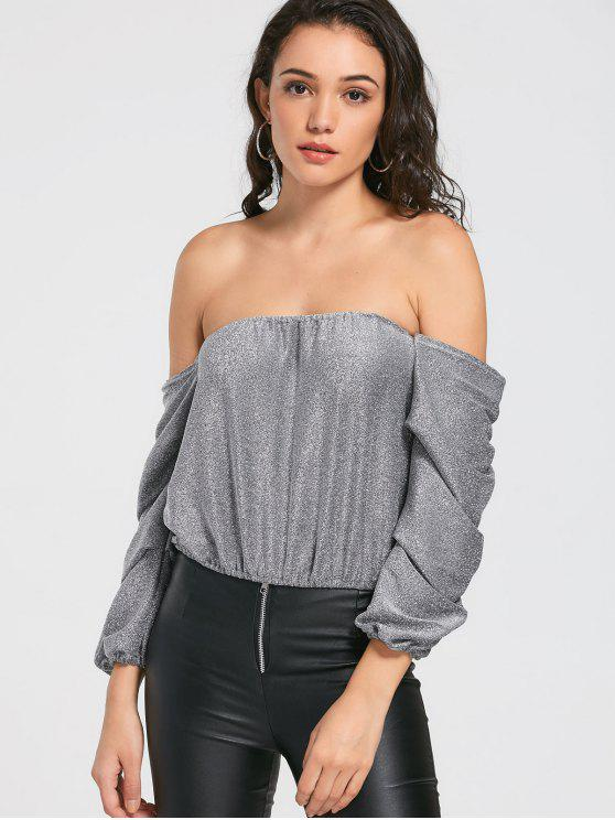 e892ae909c19 31% OFF] 2019 Glitter Draped Sleeve Off The Shoulder Top In SILVER ...