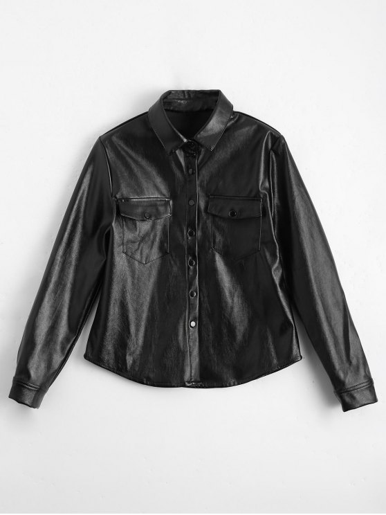outfit PU Leather Shirt with Pockets - BLACK L