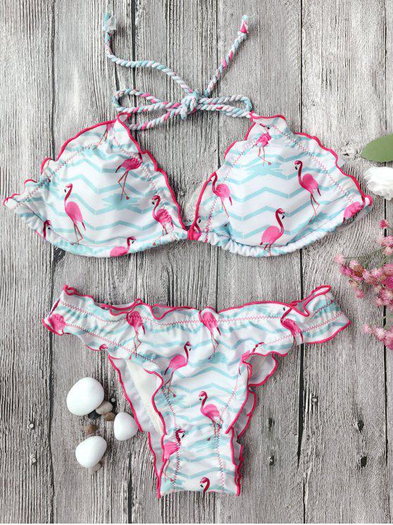 fashion Frilled Zig Zag Flamingo Print Bikini Set - WHITE M