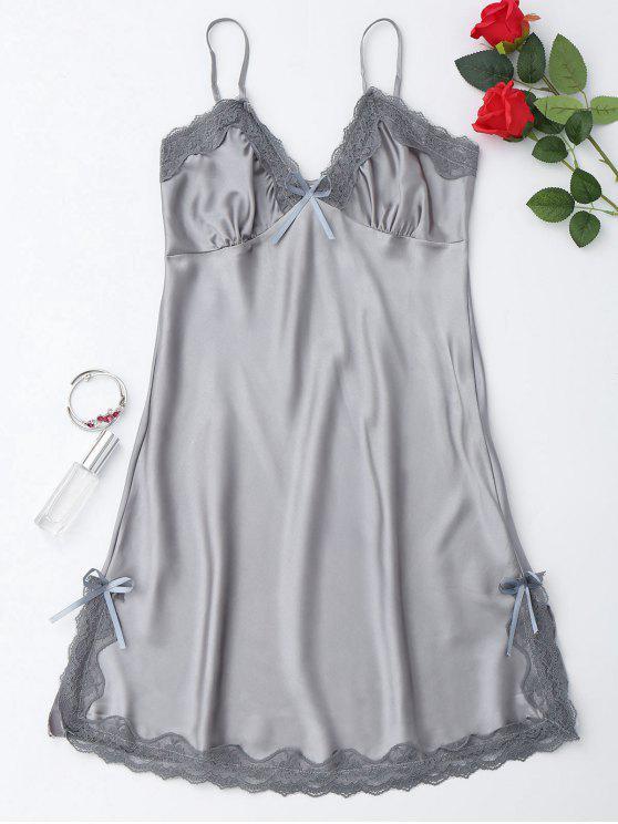 Glänzendes Cami Kleid aus Satin mit seitlichem Schlitz - Grau XL