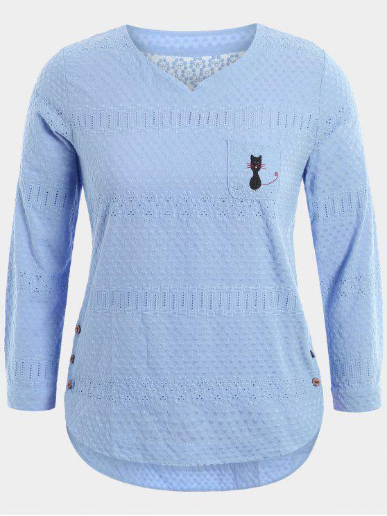 Dibujos animados bordados blusa superior con bolsillo - Azul Claro 4XL